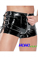 Sexy Men's Pleather Sides Lace Up w/Zipper Boxer Shorts