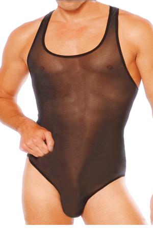 Sexy Mens See-Thru Thong Back Singlet Bodysuit #412